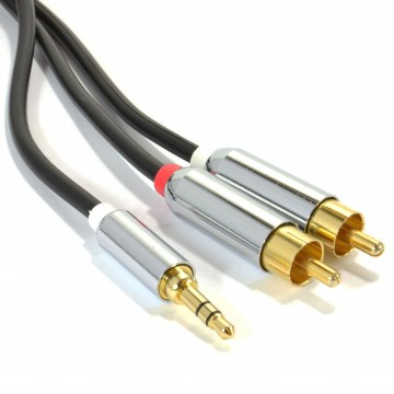 PRO OFC 3.5mm Stereo Jack to 2 x RCA Phono Plugs Cable Gold 1m