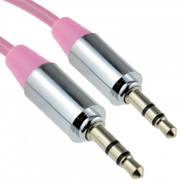 PRO METAL PINK 3.5mm Jack Male to Male Stereo Audio Cable Lead 1m