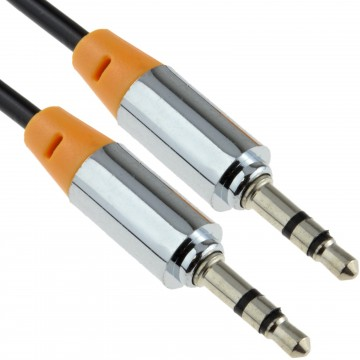 PRO METAL Orange 3.5mm Jack Male to Male Stereo Audio Cable...