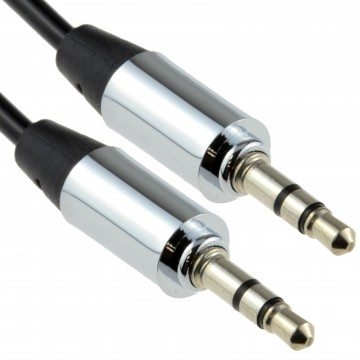 PRO METAL BLACK 3.5mm Jack Male to Male Stereo Audio Cable...