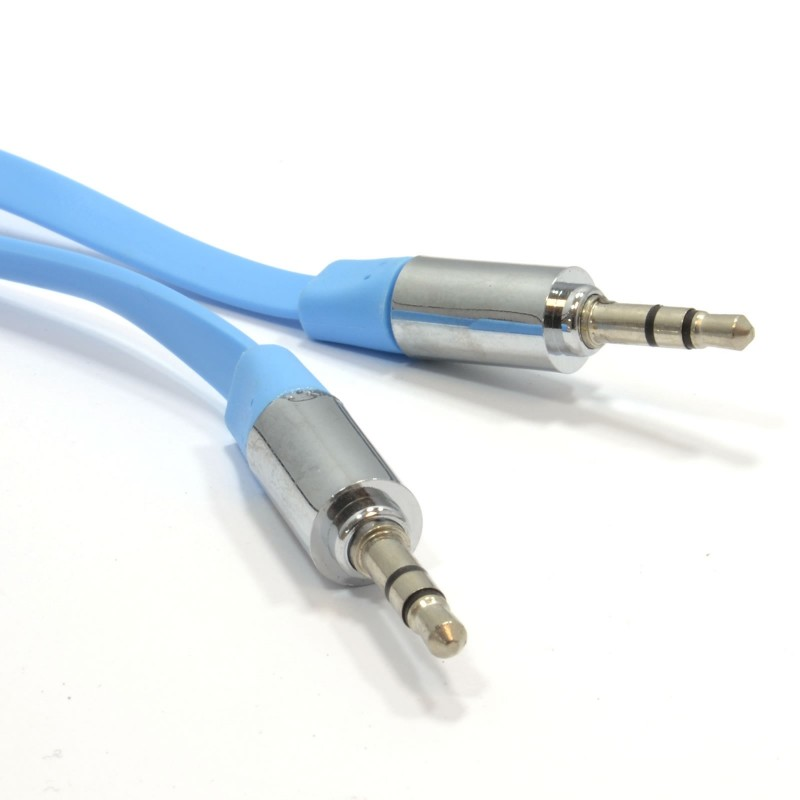 FLAT 3.5mm Jack with METAL Plug Stereo Audio Cable Lead Light Blue 2m