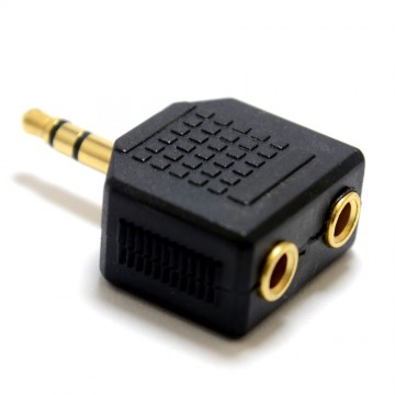 3.5mm Stereo Jack Splitter Adapter Jack Plug to Twin Sockets Gold