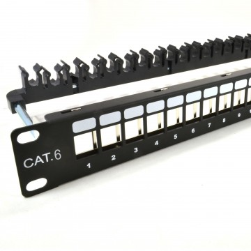 Tool-Less Cat 6 Patch Panel Frame for Keystones with Cable...