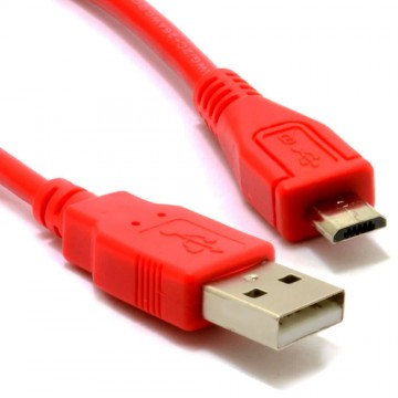 USB 2.0 A To MICRO B Data and Charging Shielded Cable 2m RED