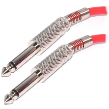 Pulse 6.35mm Low Noise Guitar Cable Nickel Connectors RED Lead 5m