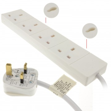 4 Gang Way UK 13A Trailing Socket Mains Power Extension Lead...