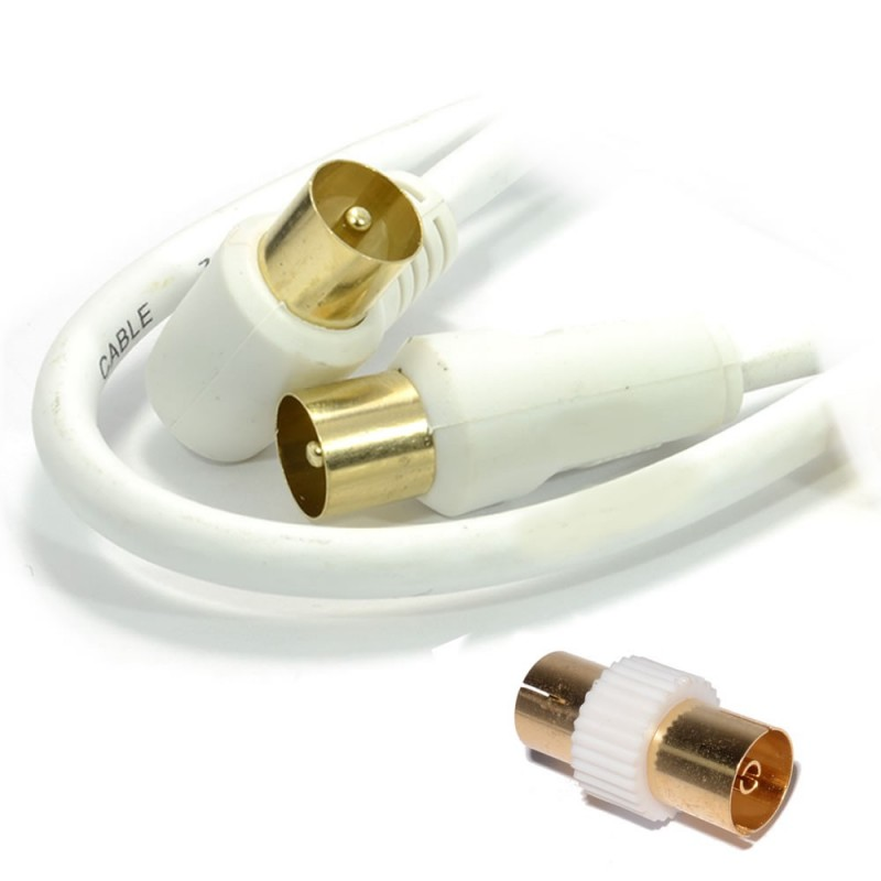 RF Right Angle TV Aerial Freeview Plug Video Cable & Coupler GOLD  1.5m White