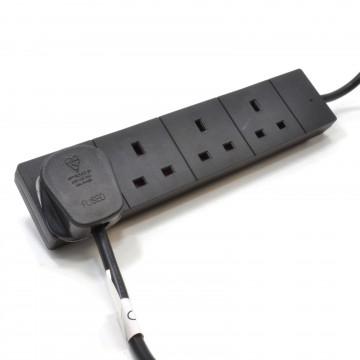 BLACK 4 Gang Way UK 13A Trailing Mains Power Extension Lead 1m inc LED