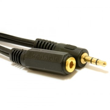 3.5mm Stereo Jack to Socket Headphone Extension GOLD Cable  1m