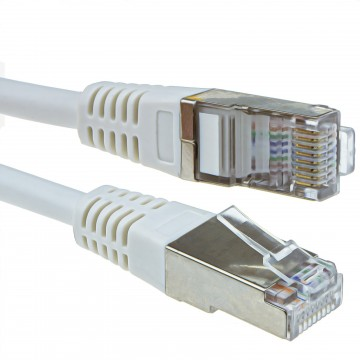 Shielded FTP Network Ethernet RJ45 Cat5E-CCA PATCH 26AWG Cable  0.25m 25cm White