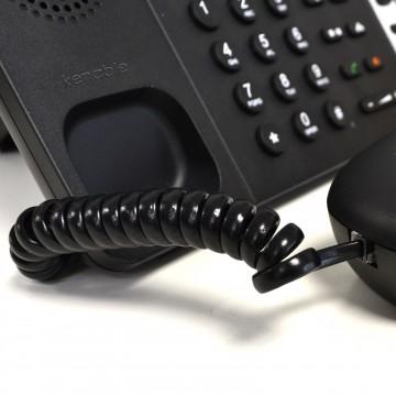 Telephone Handset Coiled RJ10 Plug to RJ10 Plug Cable Lead Black 1.5m
