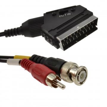 CCTV BNC Plug & Phono Audio to TV Scart  Converter Cable 1.5m