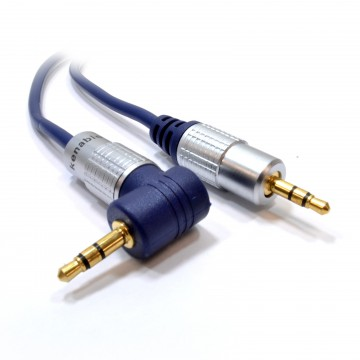 PURE Right Angle 3.5mm Stereo Jack to Jack Cable Gold   0.5m 50cm