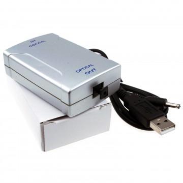 Digital Audio Coax SPDIF Phono RCA to Optical TOS Converter Adapter USB Powered
