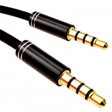 PRO 4 Pole 3.5mm Jack Male Audio Cable TPE RUBBER Lead GOLD  1m