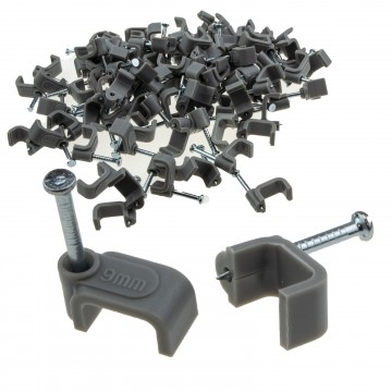 FLAT Grey  9mm Cable Clips for 1.5mm2 Twin & Earth Cables...