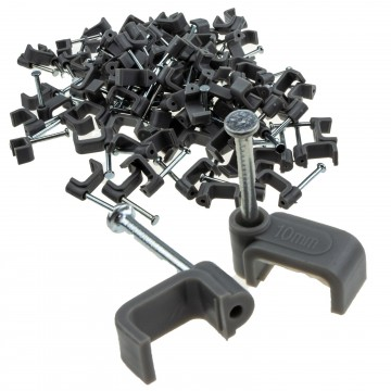 FLAT Grey 10mm Cable Clips for 2.5mm2 Twin & Earth Cables  [100 Pack]