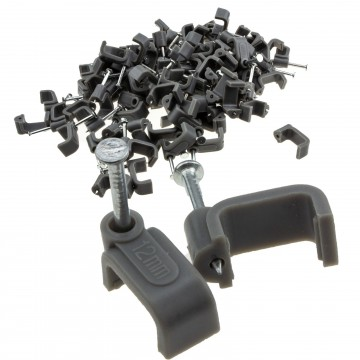 FLAT Grey 12mm Cable Clips for 6mm2 Twin & Earth Cables [100...