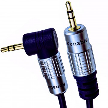 PURE Right Angle 3.5mm Stereo Jack to Jack Cable Gold  2m