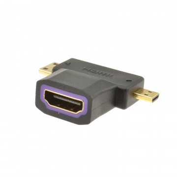 HDMI Socket to HDMI Micro and HDMI MINI Plug Multi Use Adapter