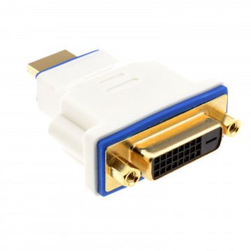 PRO DVI 24+1 Socket to HDMI 2.0 Plug Digital High Speed Adapter White