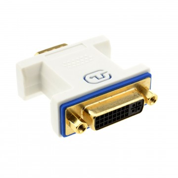 PRO DVI 24+5 Socket to VGA Plug 15 pin Video Adapter Converter White