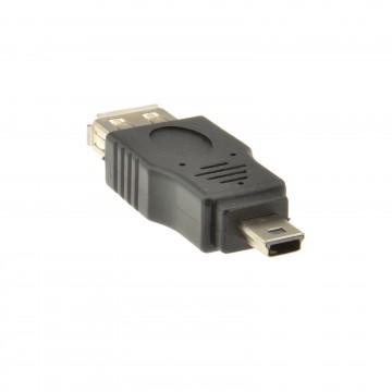 USB 2.0 A Type Female Socket to USB MINI 5 Pin Plug Male Adaptor