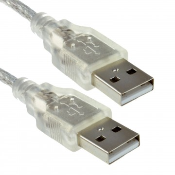 CLEAR USB 2.0 Hi-Speed A Plug to A Plug Cable Lead 24AWG...