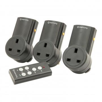Remote Control Mains Socket Energy Saving Mains Power Adapter Set of 3