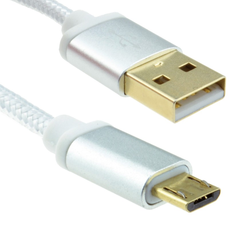 BRAIDED Metal Ended GOLD USB 2.0 A To MICRO B 24AWG Cable 0.3m SILVER