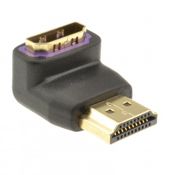 Slimline HDMI Male to Female Right Angled Adapter 90 Degrees GOLD