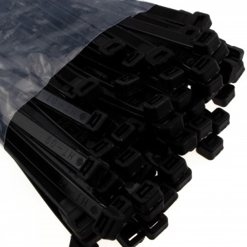enTie Black Cable Ties 7.6mm x 300mm Nylon 66 UL Approved [100 Pack]