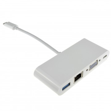 USB 3.1 Type C to VGA USB & Gigabit Adapter with PD Function 15cm