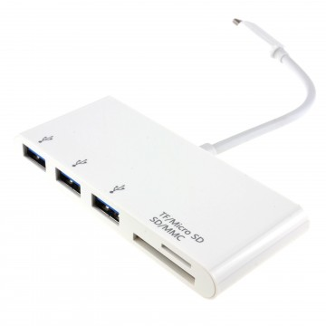 USB 3.1 Type C to 3 x USB 3 Sockets & SD/Micro SD Card Reader