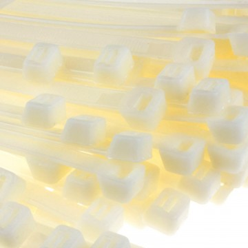 enTie Natural White Cable Ties 7.6mm x 300mm Nylon 66 UL Approved [100 Pack]