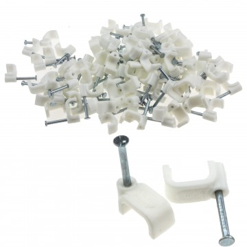 FLAT White  9mm Cable Clips for 1.5mm2 Twin & Earth Cables [100 Pack]