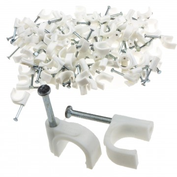 Round White 10mm Cable Clips Secure Fastenings Cables [100 Pack]