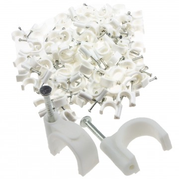 Round White 12mm Cable Clips Secure Fastenings Cables LARGE...