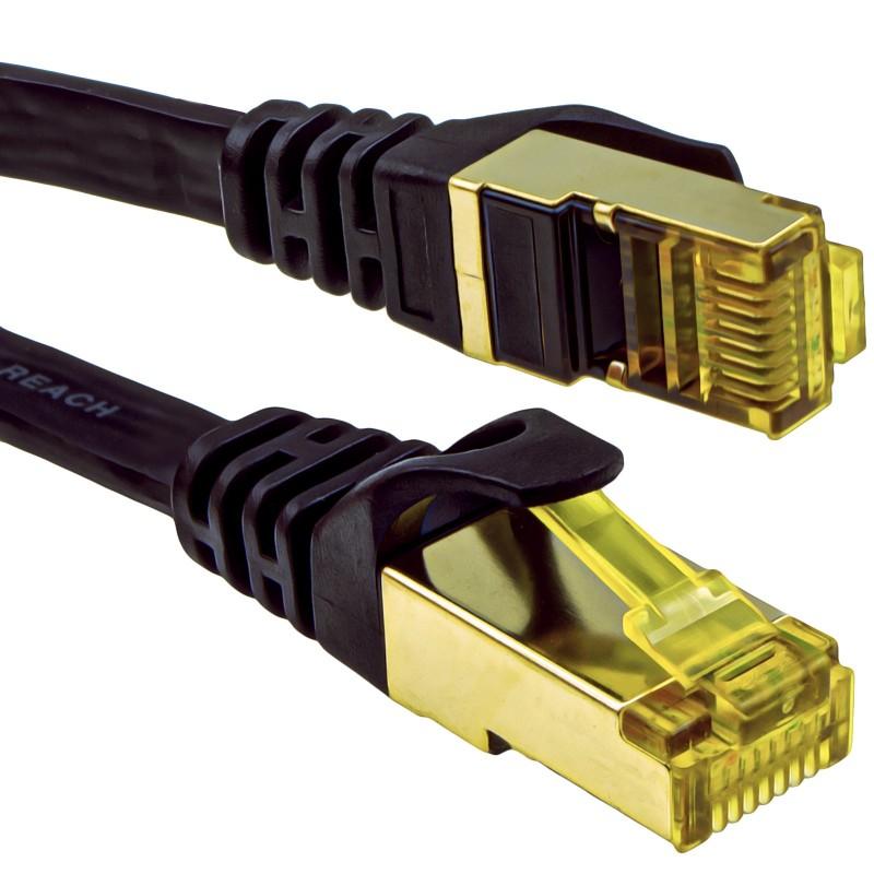 FLAT CAT7 FTP Shielded 600MHz 10Gbps Ethernet LAN Cable RJ45 20m Black
