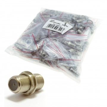 F Type Connector Coupler for Joining Satellite Virgin Cables with Nut 100 Pack
