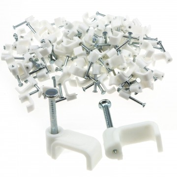 FLAT White 10mm Cable Clips for 2.5mm2 Twin & Earth Cables...