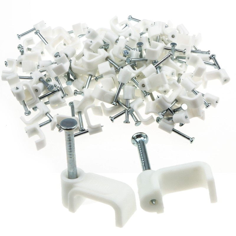 FLAT White 10mm Cable Clips for 2.5mm2 Twin & Earth Cables [100 Pack]