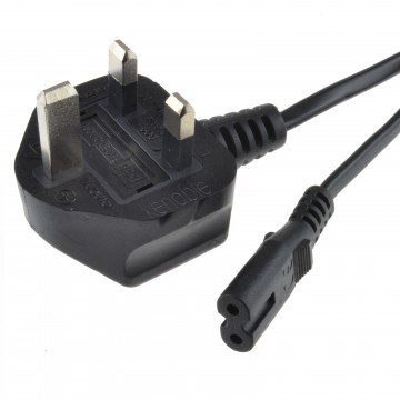 Figure 8 Power Cable UK Plug to C7 Lead for LED or Smart TV Black 10m