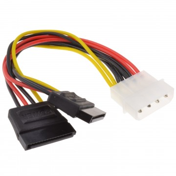 SATA Power Splitter Cable 4 pin LP4 Molex to 2 x SATA Power