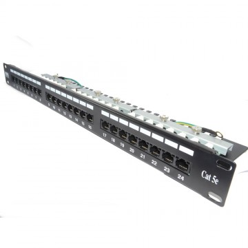 24 Port Networking Patch Panel Cat 5e Vertical Punchdown & Management