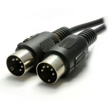 MIDI 5 Pin DIN Plug to 5 Pin DIN Plug Cable 1m Black