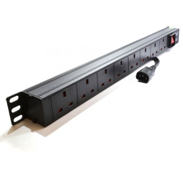 Power Distribution C14 Plug to UK  8 Way 19 inch Vertical Rack...