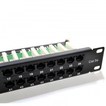 1U 48 Port Cat 5e RJ45 Networking 19 inch Rack Patch Panel with Cable Tidy