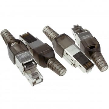 Shielded CAT7 STP RJ45  Field Plugs LAN Crimps Ends Connectors [4 Pack]