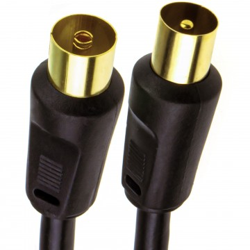 RF Coaxial TV Aerial Lead Coax Plug to Socket Black RG59 Cable...